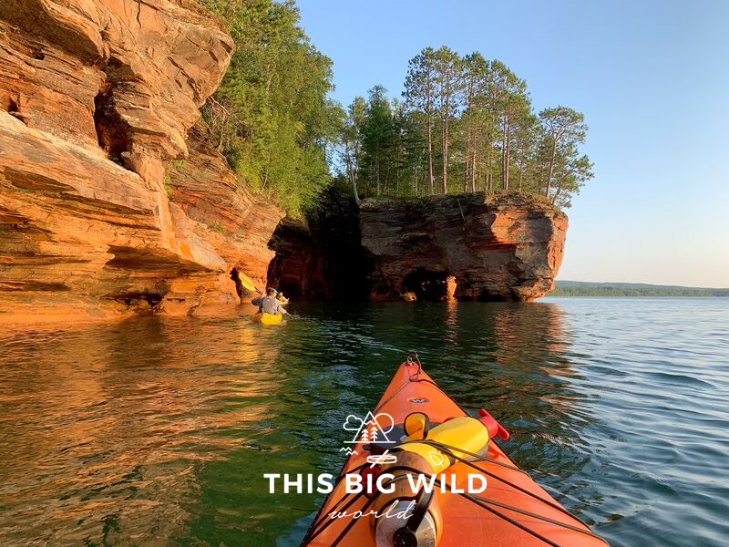 Kayak along the red sandstone cliffs and through the arches of the Apostle Islands sea caves on Lake Superior.