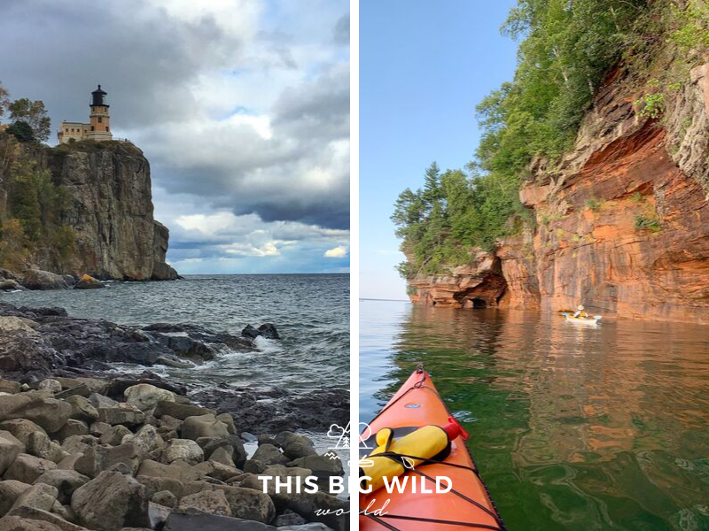 The north shore of Lake Superior in Minnesota is rugged and lined with granite rock. The south shore is a stark contrast with its red sandstone cliffs and old growth forests.