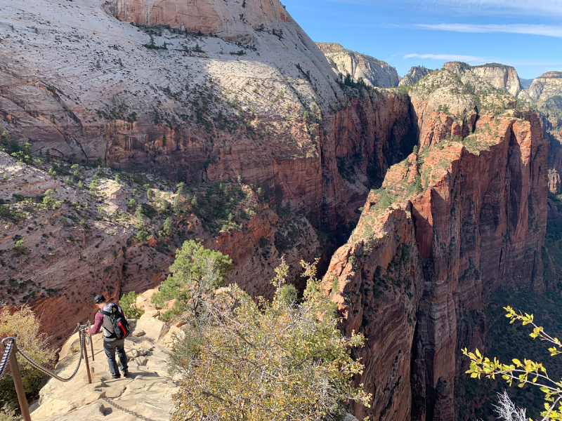 Angel's Landing is a popular hiking trail, but also one of the most dangerous hikes in the US. The final section requires hikers to climb a narrow ridge holding onto chains to reach the landing. Photo Credit: Lisa Landry