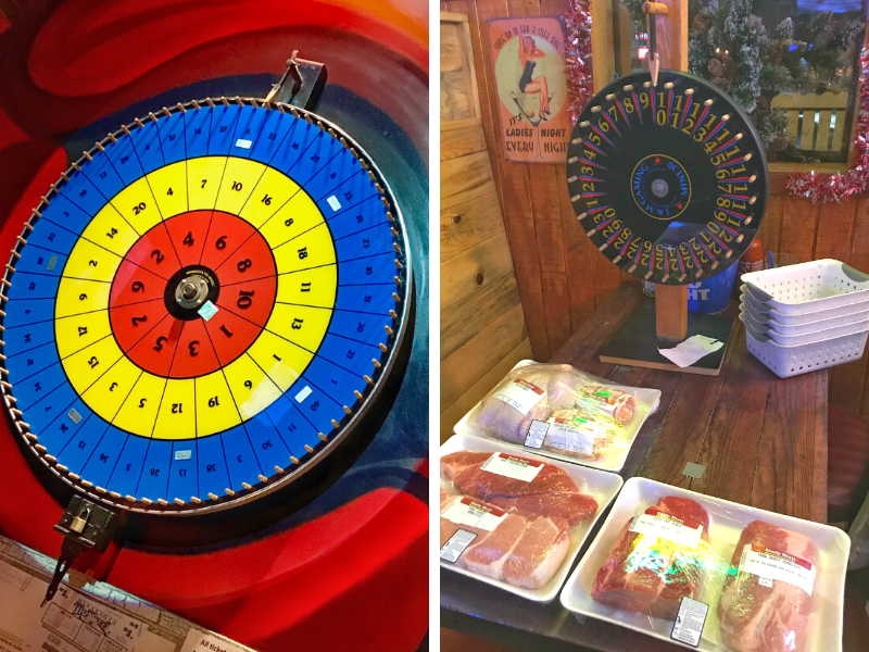On the left, is a tri-wheel which has 3 concentric rings colored red, yellow and blue. Each set of rings has numbers on it and players bet on which color/ number will win! On the right is a similar wheel at a meat raffle, with 3 trays of raw meat waiting to go to the winners.