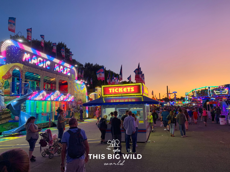 The sky just after sunset at the Minnesota State Fair is colored like cotton candy as the Midway games and rides light up for the evening.