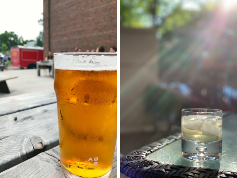 Drinking a beer on the patio at Able Brewery in Minneapolis and sipping tequila on my own patio in Minnesota.