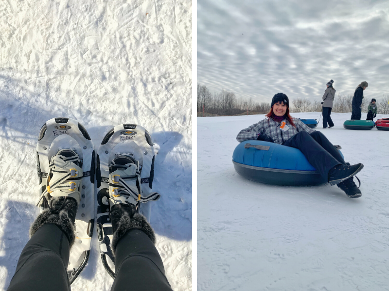 Snowshoeing and tubing down snow hills are both popular winter outdoor activities in Minnesota.