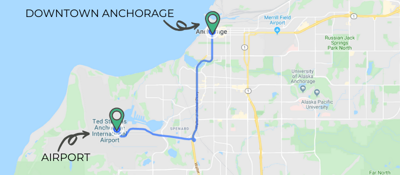 Map showing distance from Ted Stevens Anchorage International Airport to Downtown Anchorage.