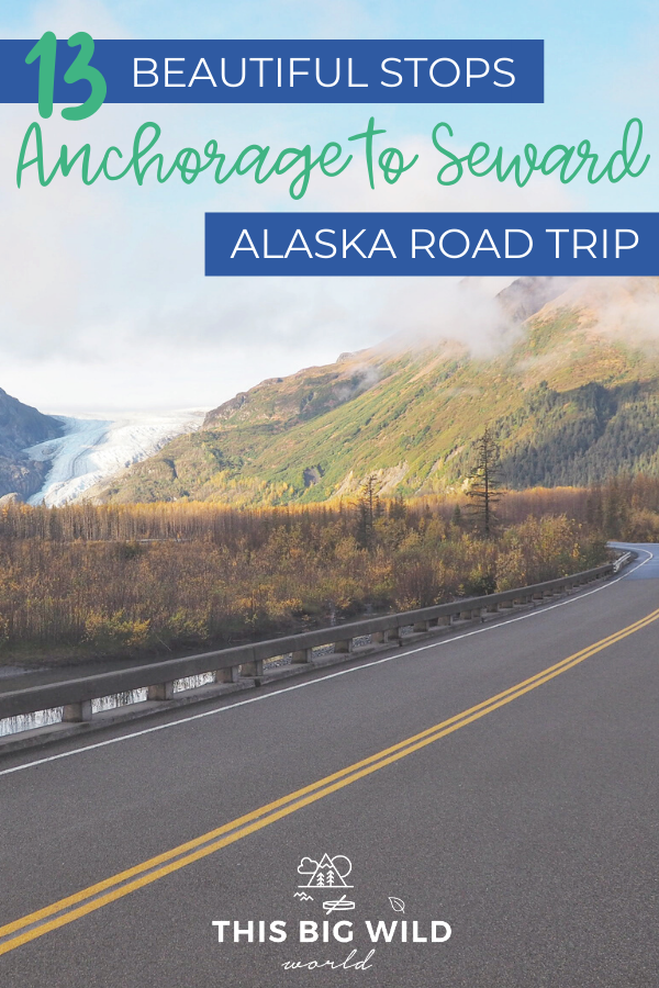 Looking for an incredible Alaska road trip? Don't miss these 13 gorgeous stops on the drive from Anchorage to Seward in Alaska. Stops include waterfalls, awesome hiking trails, glaciers, whale watching and more! Alaska travel | usa travel | Girdwood Alaska | Exit Glacier | Kenai Fjords National Park