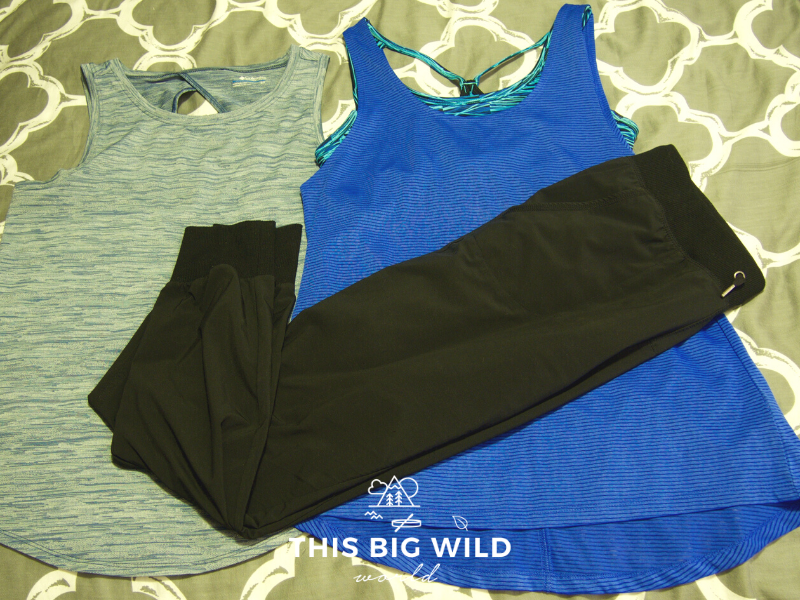 More clothing to pack for hiking the Inca Trail in Peru, including two tank tops and a second pair of breathable lightweight pants.