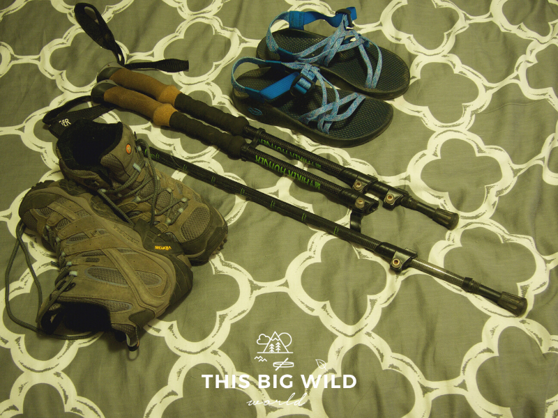Footwear to add to your Inca Trail packing list includes hiking boots and sandals.