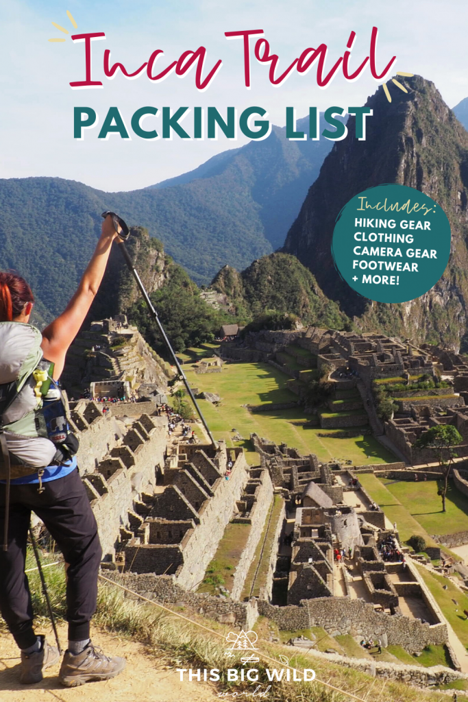 If you are hiking the Inca Trail to Machu Picchu you NEED this Inca Trail packing list. It includes hiking essentials such as boots, Inca trail outfit ideas, camera gear + more.  #packingfortheIncatrail #incatrailpackinglist #incatrailperu