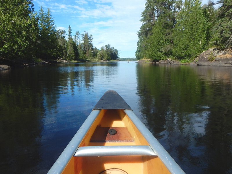 View from inside a canoe on the water in the Boundary Waters Canoe Area in northern Minnesota. Trees line both sides of the water on a sunny day. This is the number one item on any outdoor adventurers' Minnesota bucket list!