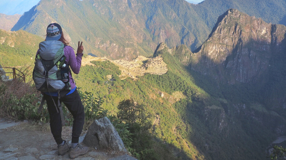 Overlooking Machu Picchu from the Sun Gate on the final day of the Inca Trail hike, just as the sun rises.