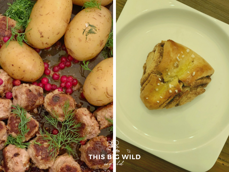 On the left, an up close photo of Finnish meatballs and dill potatoes with bright red lingonberries and fresh dill. On the right, a Finnish cinnamon bun on a white plate just after it was removed from the oven.