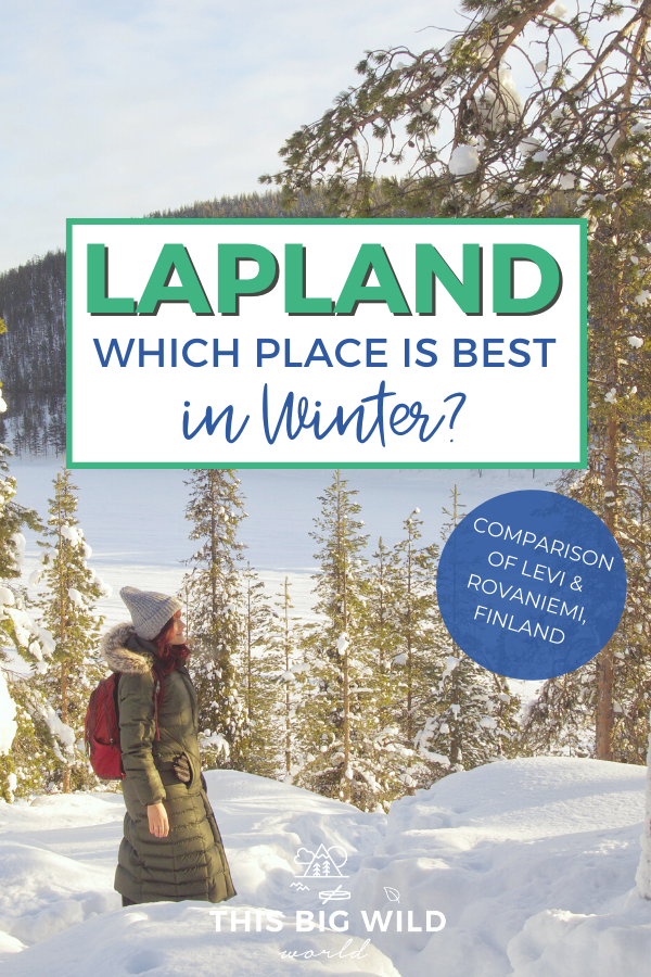 Planning a winter trip to Lapland Finland? This guide compares two popular cities in Lapland, Levi and Rovaniemi, so you can choose which one is best for you! Visit the official hometown of Santa Claus, chase the Northern Lights, snowmobile, dogsled and so much more! #Lapland #Finland #ArcticCircle #NorthernLights #AuroraBorealis