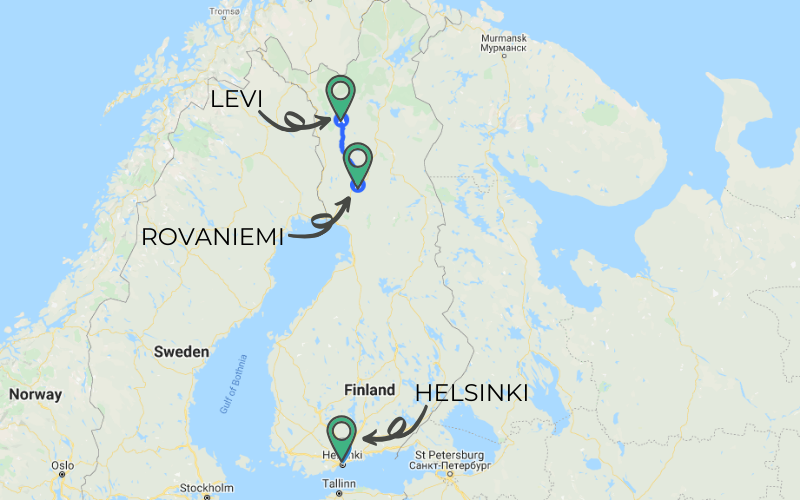 A map of Finland shows Helsinki at the very southern tip of the country and Levi in the northern part of the country. Rovaniemi is just a short distance south of Levi.
