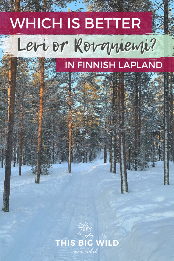 Lapland in northern Finland is one of THE best winter destinations for outdoor adventurers! But, how do you choose which place in Lapland is best for you? This comparison of Levi and Rovaniemi will help you decide! Chase the Northern Lights, go dogsledding, cross-country skiing, ice floating, snowmobiling and more! #Lapland #Finland #Arctic #NorthernLights | Lapland Finland | Arctic Circle