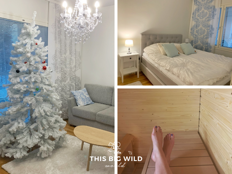 Crystal Suites Apartment 1 is one of the best places to stay in Rovaniemi. Left: Mostly white living room with crystal chandelier and white Christmas tree year-around. Top Right: Mostly white bedroom with double bed, nightstand and window. Bottom Right: Wood lined in-room sauna that looks brand new!