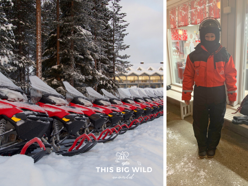 Left: A long row of bright red snowmobiles perfectly lined up with snow covered trees behind them and a building int he distance. Right: Me in head-to-toe bright red and black snowmobile gear including a black helmet, head covering, jumpsuit and boots.