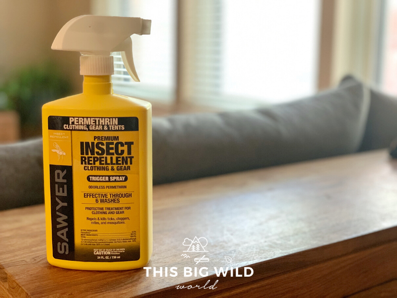 Sawyer Permethrin spray effectively keeps both mosquitoes and ticks away and can be used on clothing, hiking gear or tents. It lasts six laundry cycles.