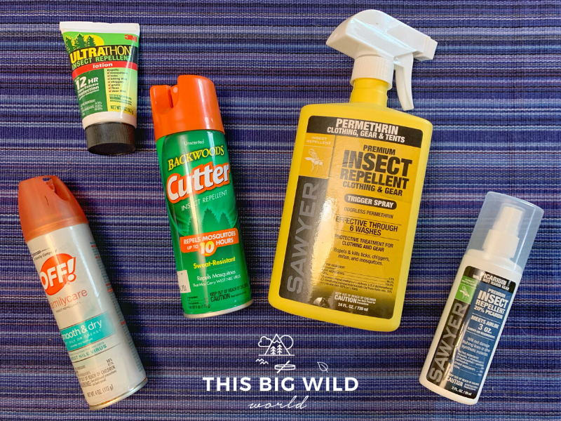 Products to avoid ticks while hiking, from left to right: Off! FamilyCare spray with DEET, Ultrathon DEET-based lotion in travel size, Cutter Backwood with DEET, Sawyer Permethrin spray for clothing, and Sawyer Picaridin-based insect repellent spray.