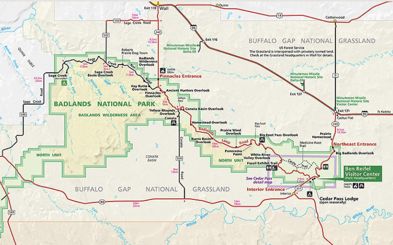 Map showing an overview of Badlands National Park and the surrounding area, including Highway 90 to the north and Highway 44 to the south.