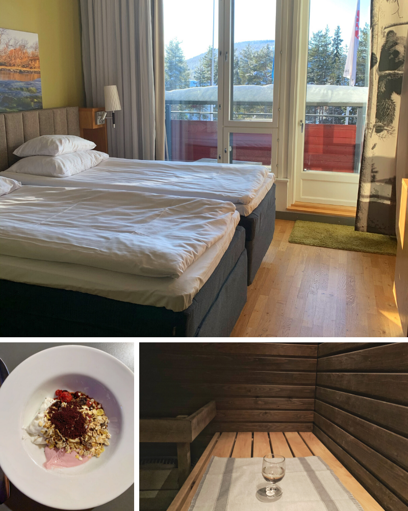 Top: Two twin beds, wood floor, and pale green walls looking out on a snow-covered balcony and pine trees. Lower left: A white bowl with thick rim filled with two types of yogurt, granola, fresh fruit and blueberry powder from the breakfast buffet at Break Sokos Levi. Lower Right: In-room sauna lined with wood with a glass of white wine sitting on a towel on the bench.