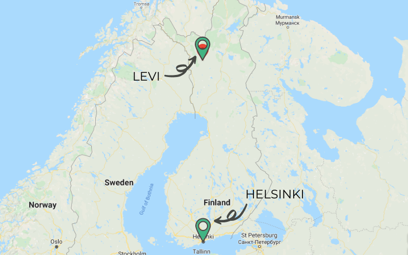 A map shows Norway, Sweden, and Finland with a marker showing Helsinki in the south and Levi in the north of Finland.