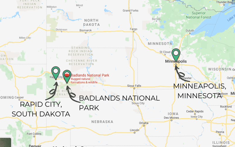Map of South Dakota and surrounding states with markers showing Badlands National Park in the southwestern part of the state, Rapid City, and Minneapolis.