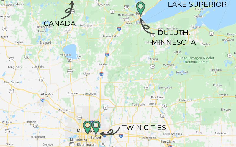 A map shows the Twin Cities of Minneapolis and St Paul in bottom center. In the upper right hand corner of the map is Duluth, located at the western corner of Lake Superior. On the upper left side of the map is an arrow pointing up towards the Canadian border.