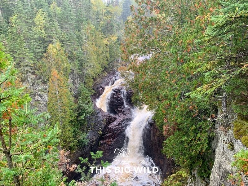A narrow cascade of waterfalls makes its way through a dark gray jagged rock gorge. On either side of the water are tall trees in all shades of green, yellow and red. There's a light mist in the air as the rain starts to fall.
