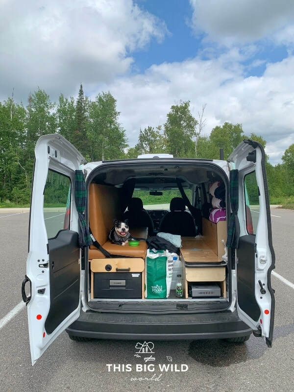The rear doors of a campervan are open in an empty parking lot surrounded by forest. A boston terrier dog is happily sitting on the bench during a pit stop on our campervan rental trip.