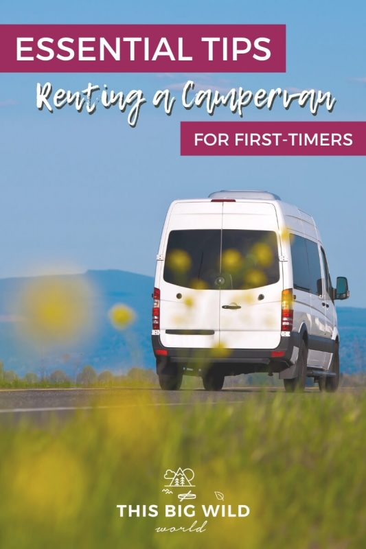 Text: Essential Tips Renting a Campervan for First-timers Image: A white campervan is driving away from the camera with mountains in the distance. In the foreground is tall grass and yellow flowers.