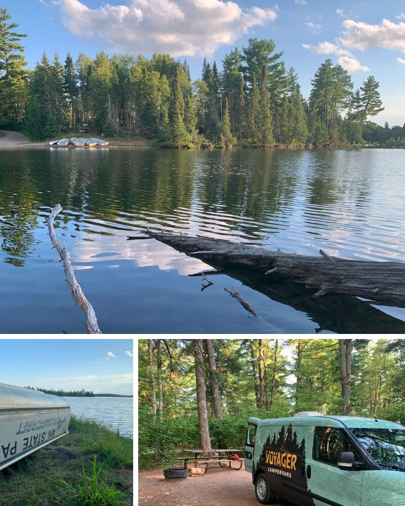 Top: Metal canoes rest next to the boat launch at Bear Head Lake State Park. The shoreline is lined with green pine trees. Bottom Left: Metal canoe rests upside down near the swimming beach with the water next to it. Bottom Right: A campervan is backed into a campsite with a picnic table surrounded by tall pine trees.