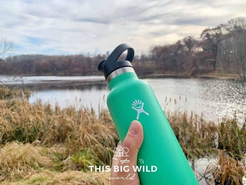 A mint green Hydroflask water bottle is being held up in front of a lake with tall yellow grass growing around it.