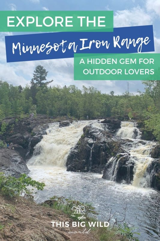 Text: Explore the Minnesota Iron Range - A hidden gem for outdoor lovers Image: Two waterfalls side by side flow over dark rock surrounded by lush green forest.