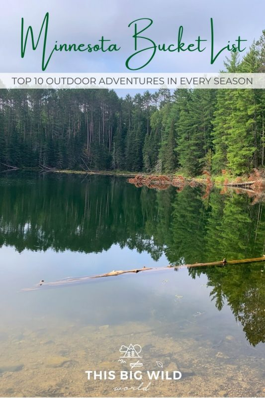 Text: Minnesota Bucket List: Top 10 Outdoor Adventures in Every Season Image: A clear lake has a perfect reflection of pine and fir trees on a sunny day. In the foreground, a log is laying in the water across the image.