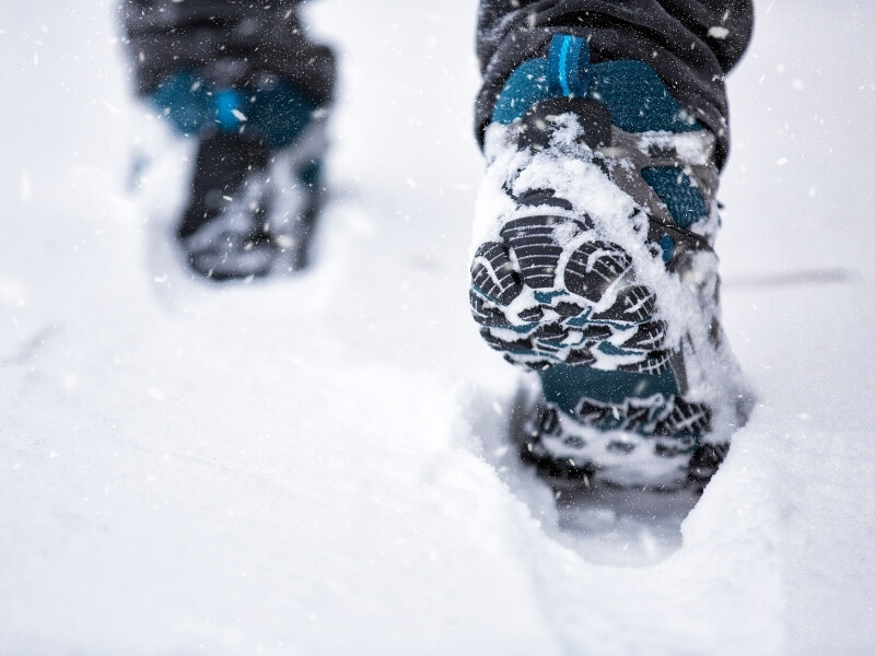 Make sure the temperature rating on winter hiking boots meets or exceeds the temperature where you plan to hike.