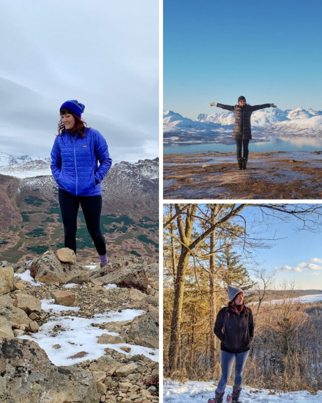 Three photos of what to wear for winter hiking. Left: Winter hiking near Anchorage Alaska. Top Right: Winter hiking in Tromso Norway. Bottom Right: Snowshoeing in Minnesota.