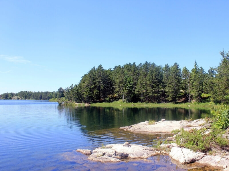 Paddle or boat into a campsite at Voyageurs National Park in northern Minnesota. The rocky shoreline is lined with tall green trees.