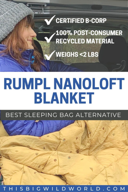 Rumpl Nanoloft Blanket - The best sleeping bag alternative. Certified B Corp. Me in the back of a vehicle with a golden Rumpl blanket.