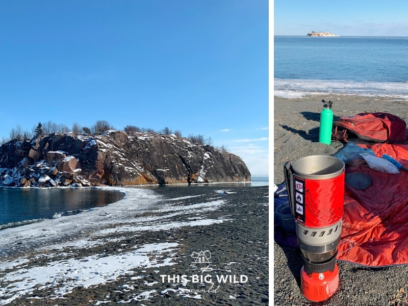 Left: Black Beach near Silver Bay Minnesota on Lake Superior covered in snow and ice. Right: backpacking stove, Rumpl blanket and water bottle on the beach in winter.