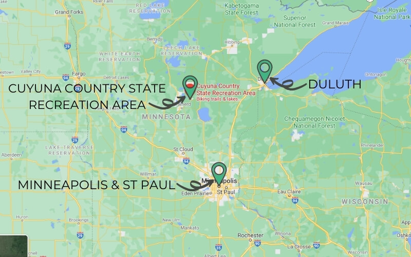 Overview map of Minnesota showing Minneapolis and St Paul to the south, Cuyuna Country State Recreation Area north to northwest and Duluth north to northeast near Lake Superior.