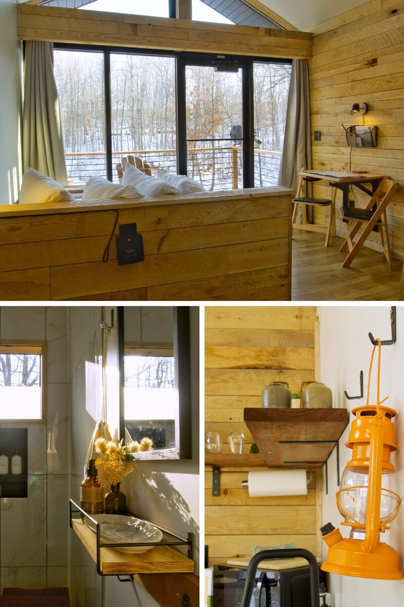 Inside of Cuyuna Cove June cabin. Top: View of bed looking out at woods through wall of windows. Interior lined with wood. Bottom left: Mirror and shelf next to shower in private bathroom. Bottom right: Orange lantern hangs on wall next to kitchen supplies.