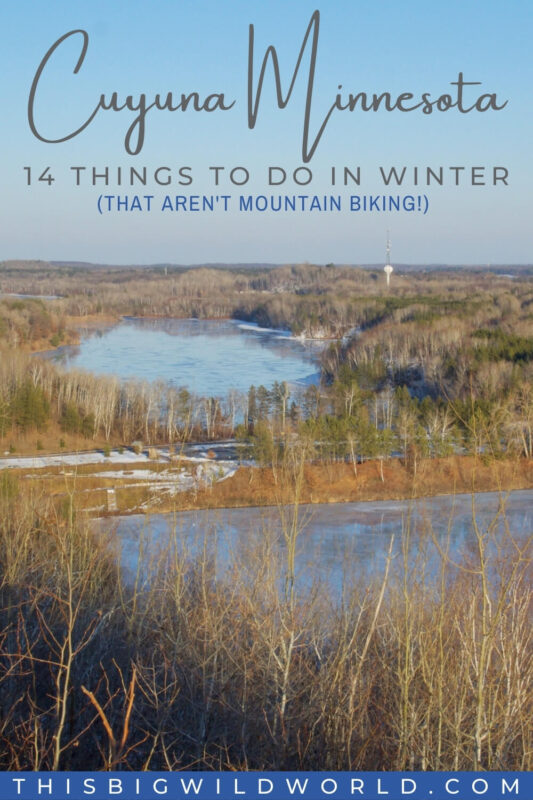 Text: Cuyuna Minnesota - 14 things to do in winter that aren't mountain biking Image: View of frozen mine pits from the Cuyuna Overlook just before sunset.