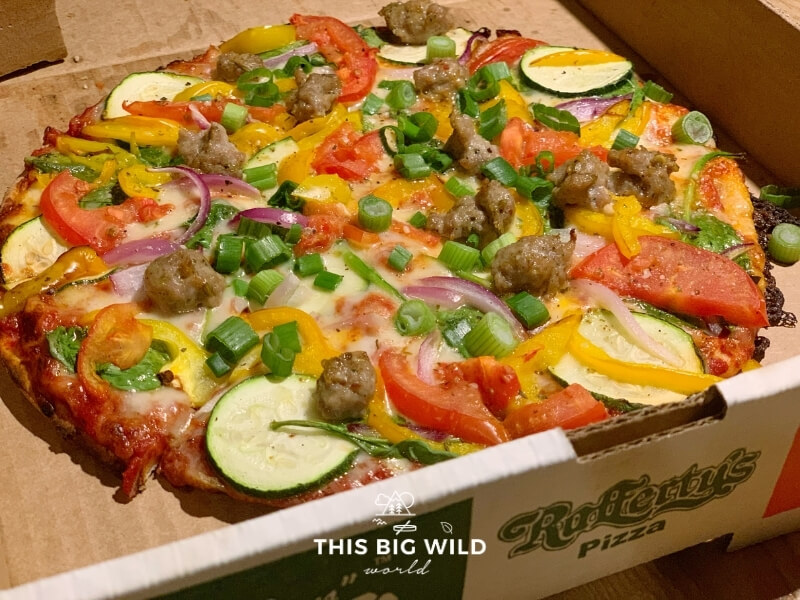 Closeup of Rafferty's veggie supreme specialty pizza in Crosby Minnesota.