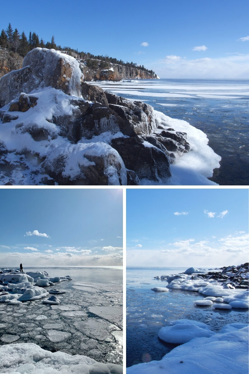 Top: Ice and snow covered rock along Lake Superior's shore in the foreground, with the rugged rocky shoreline extending towards the horizon. Bottom left: Me looking out into Lake Superior on top of a snowy rock along the icy shoreline. Bottom right: Icy covered rocks along Lake Superior in winter.