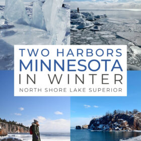 Text: Two Harbors Minnesota in Winter North Shore Lake Superior Images: Ice dams along Lake Superior shore, me standing on rocks looking out at an icy Lake Superior, me standing on a rock with the rugged shoreline behind me, black beach near silver bay in winter.