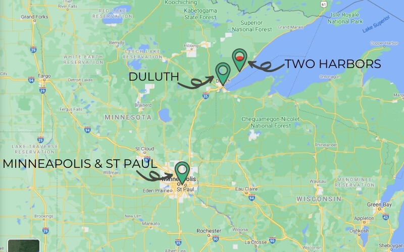 Overview map showing Minneapolis and St paul in central Minnesota and Two Harbors just north of Duluth on Lake Superior.
