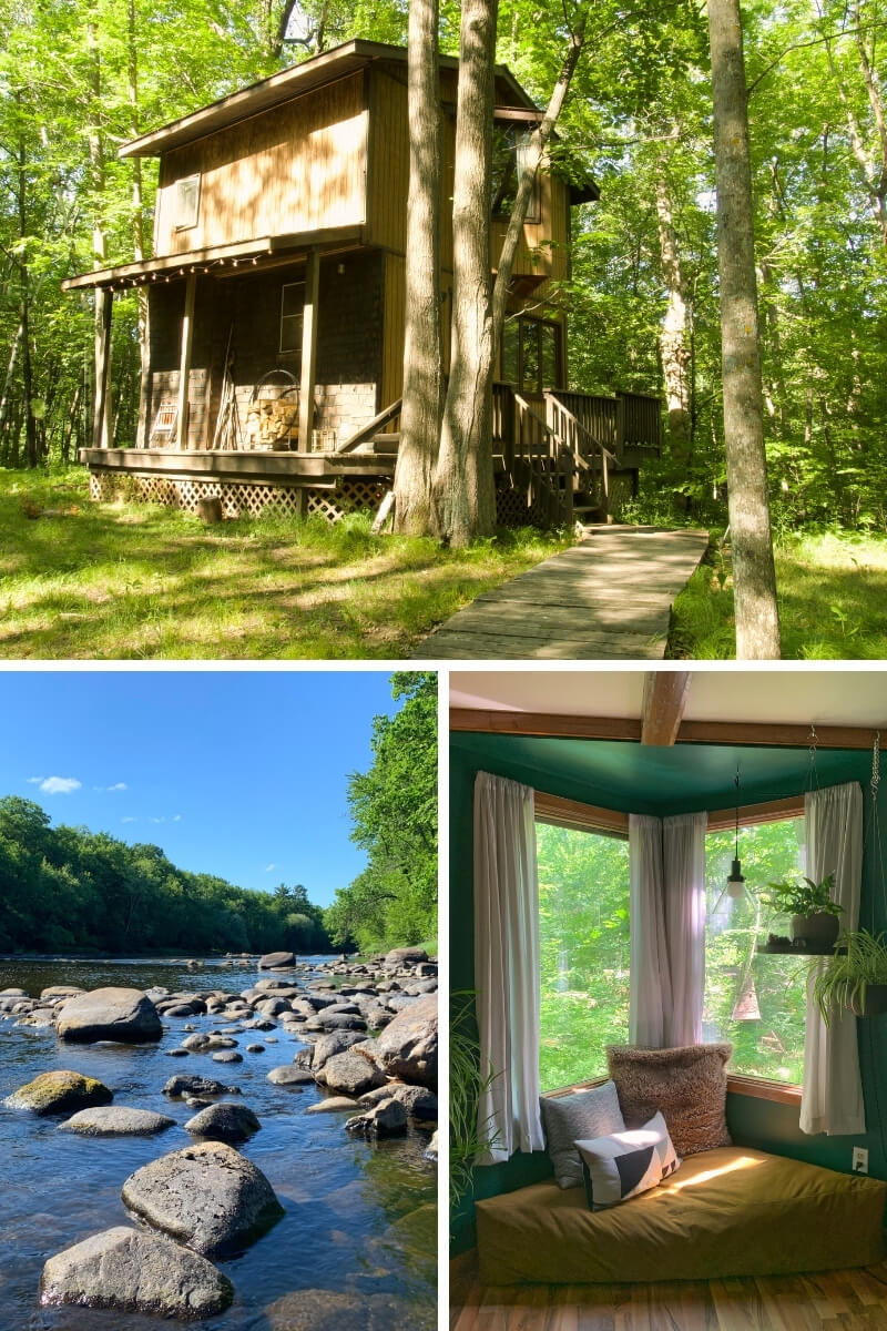 Top: The exterior of the tiny two story cabin in the woods. Bottom left: The rocky shoreline of the Snake River is accessible from the cabin. Bottom right: A cozy reading nook with a window to the woods.