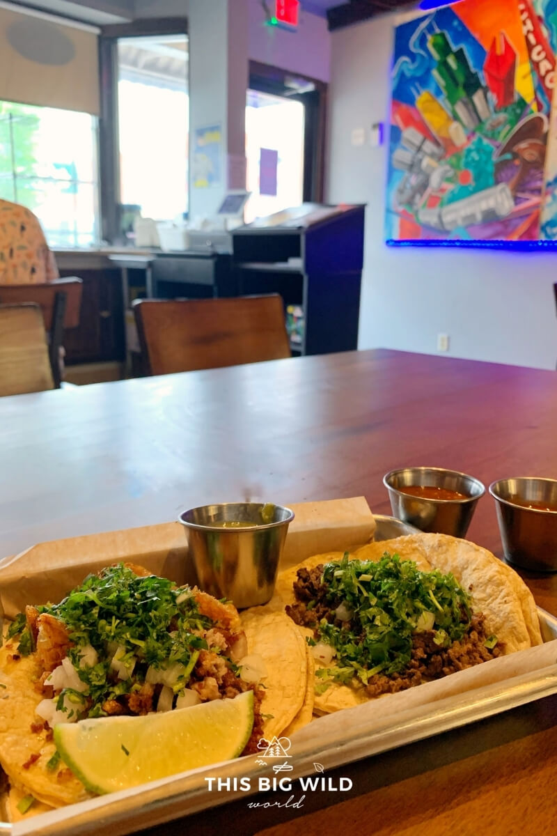 Closeup of the chicharonnes taco (left), which is crispy pork, and carne asada taco (right) at Bravis Modern Street Food in Shakopee MN.