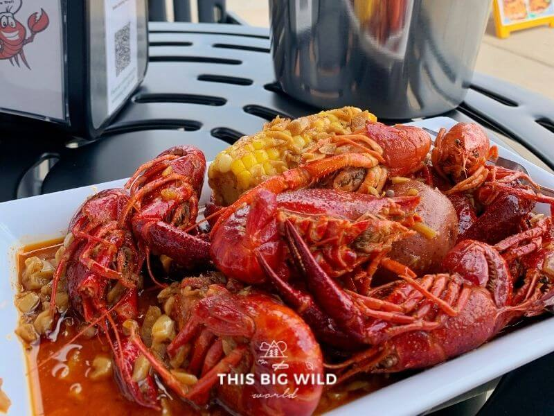 Closeup of crawfish boil, including rice and potatoes, from Cajun Deli in Shakopee MN.