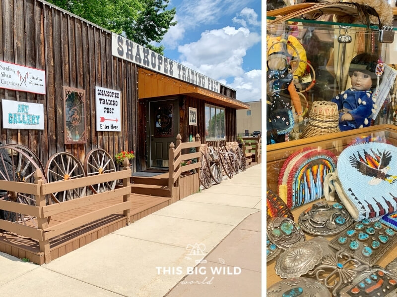 Left: The outside of Shakopee Trading Post is a small wooden building fashioned after an old time trading post. Right: A closeup of some of the Native American dolls, beadwork and belt buckles.
